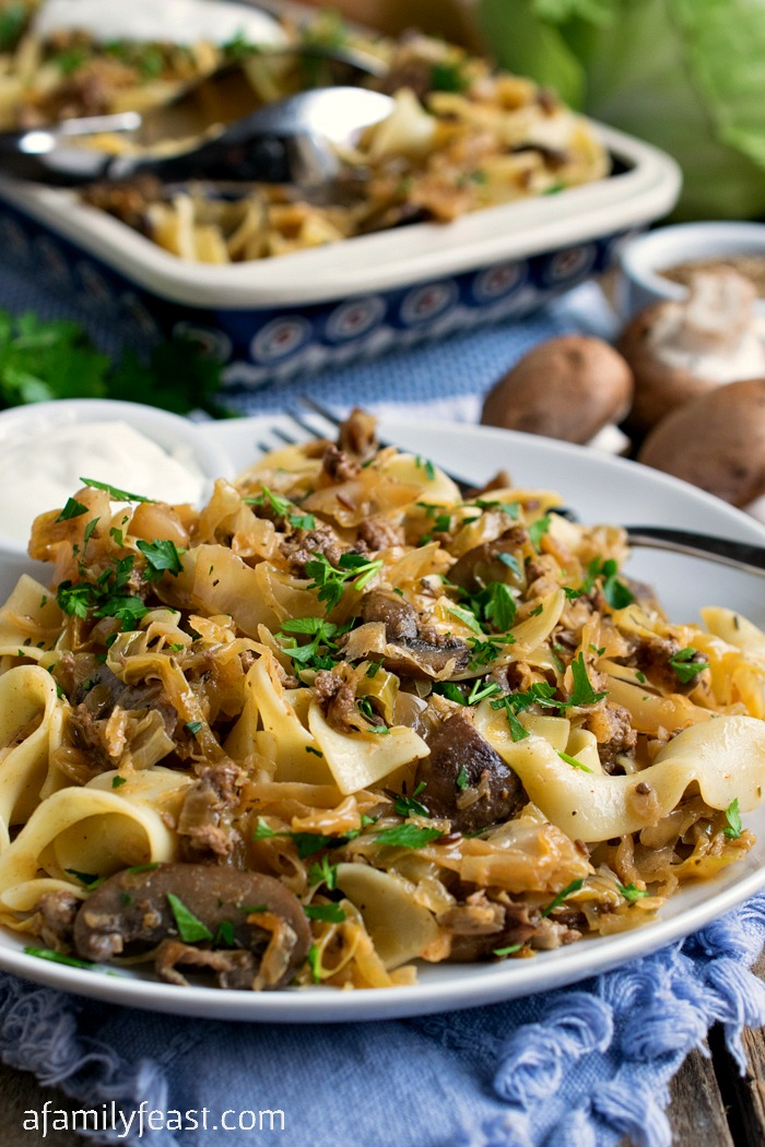 Lazanki with Mushrooms and Beef - Noodles tossed with sauteed ground beef, mushrooms, and sauerkraut and topped with sour cream. A classic Polish dish.