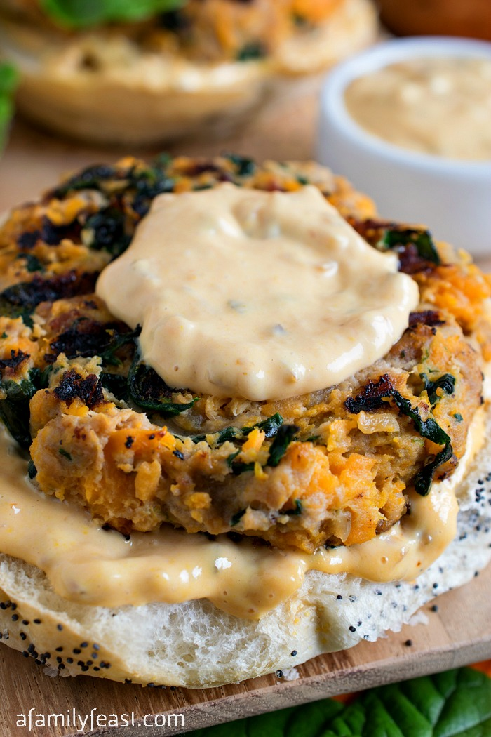 Sweet Potato Spinach and Bacon Turkey Burgers - Moist and full of fantastic flavors! These are the best turkey burgers around!