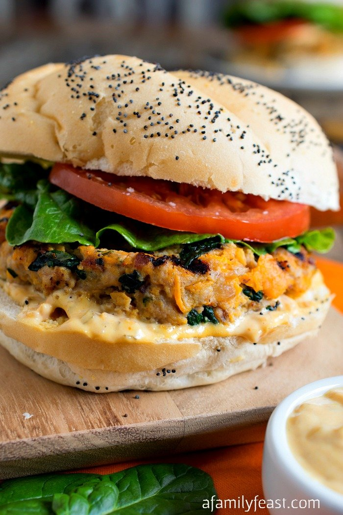 Sweet Potato Spinach and Bacon Turkey Burgers - A Family Feast