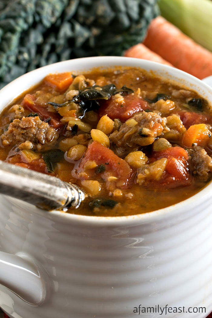 Tomato Lentil Soup with Sausage - A Family Feast