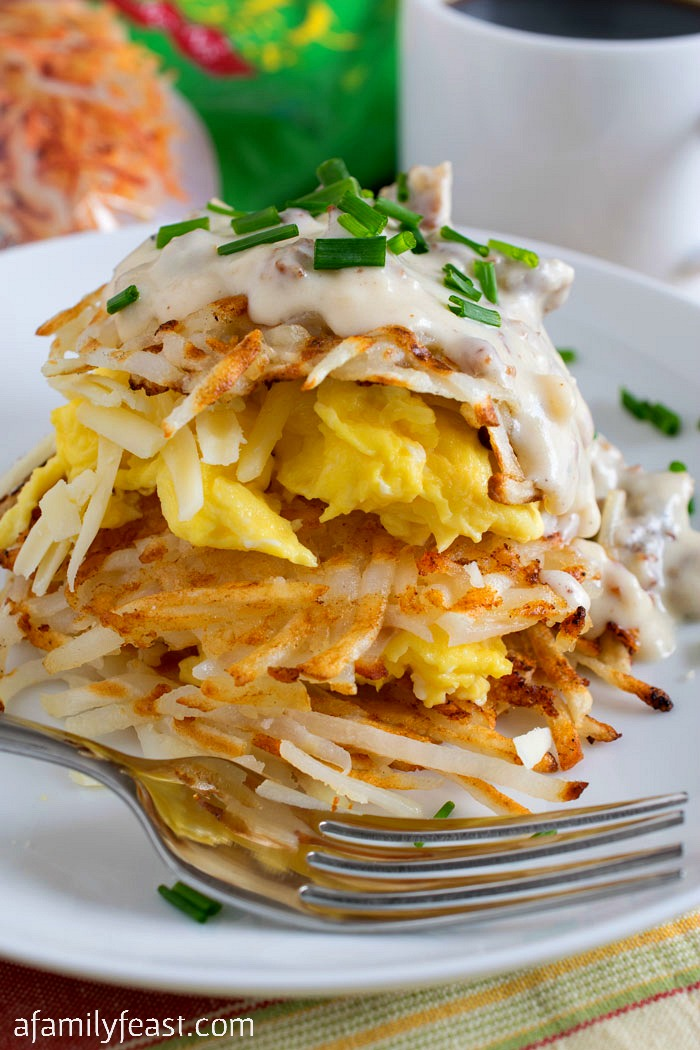 Hash Browns Breakfast Stack - A delicious, easy breakfast with layer upon layer of delicious flavor!