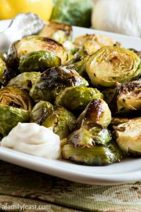 Oven Roasted Brussels Sprouts with Lemon Aioli - A Family Feast