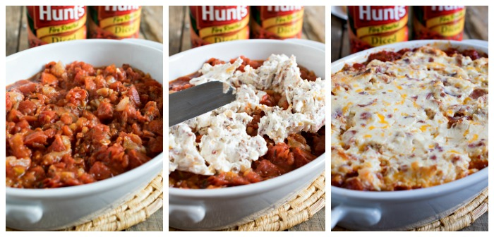 Creamy Roasted Tomato Bacon Dip - Roasted tomatoes topped with a creamy bacon and cream cheese topping - plus more bacon on top!