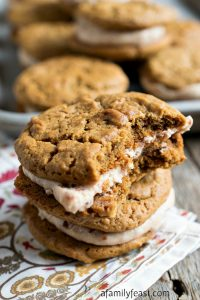 Ginger Molasses Cookies with Cherry Cream Filling - A Family Feast