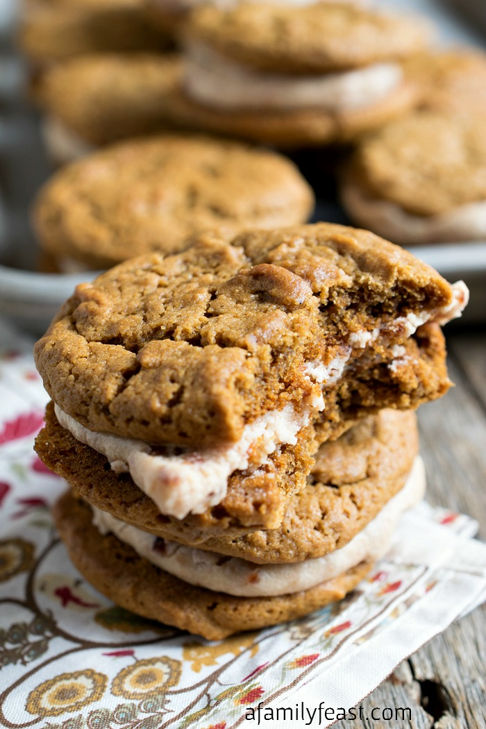 Ginger Molasses Cookies with Cherry Cream Filling - Sweet, soft and delicious cookies with flavor you'll love!