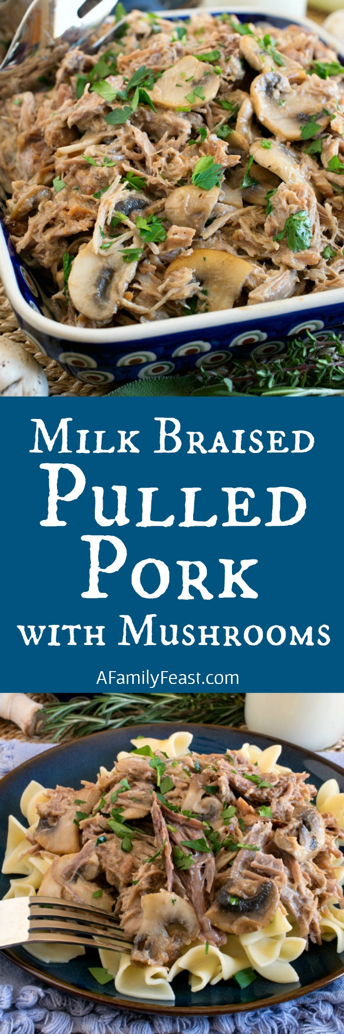 Milk Braised Pulled Pork with Mushrooms - Tender and delicious pulled pork in an incredible milk-based sauce.