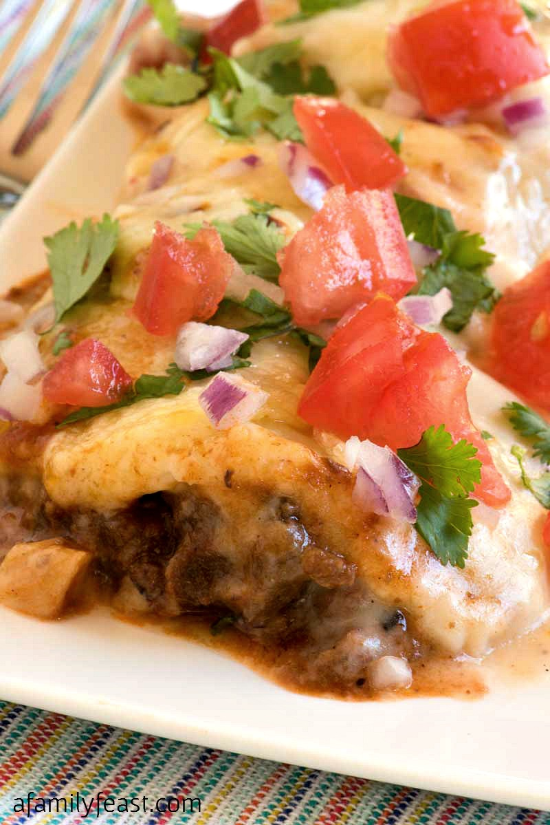 Our Chili Cheese Enchiladas are easy, cheesy and delicious! Make with your favorite chili recipe!