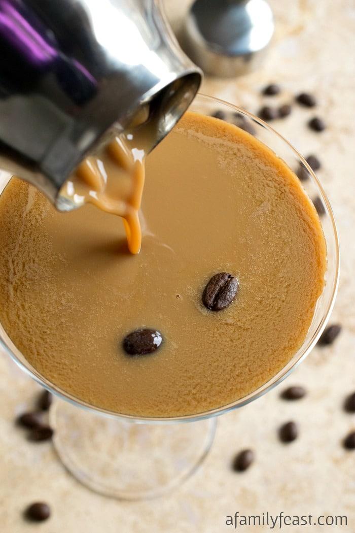 Espresso Martini - A delicious cocktail made with chilled espresso, vodka, kahlua and Irish cream.