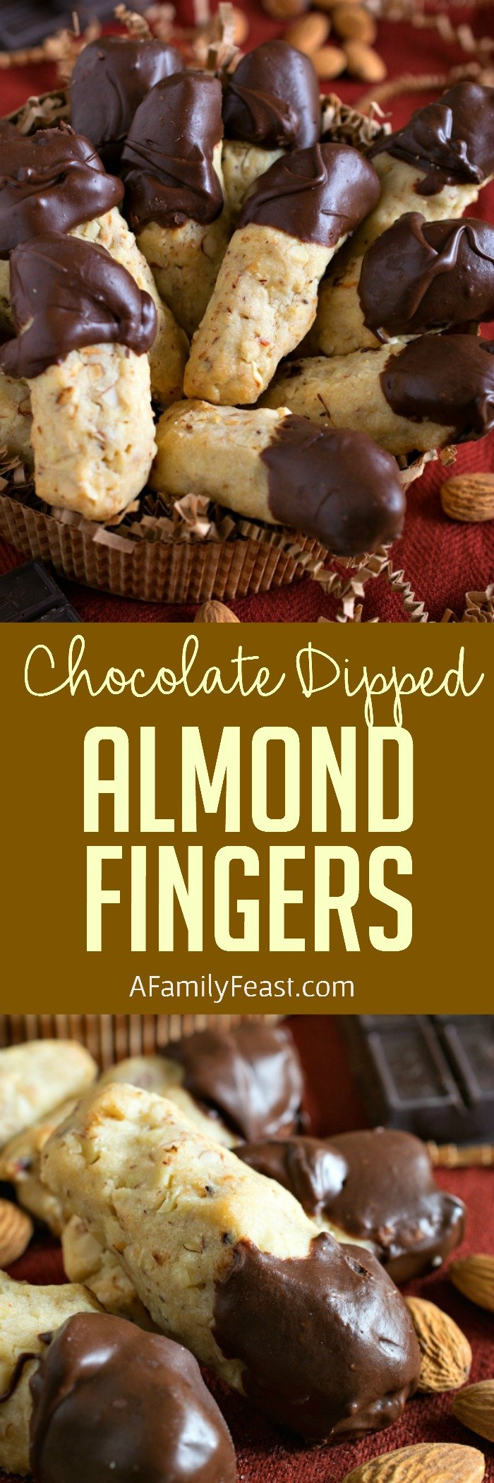 Chocolate Dipped Almond Fingers - Light and crumbly almond-stuffed shortbread cookies dipped in chocolate. Cookie perfection!