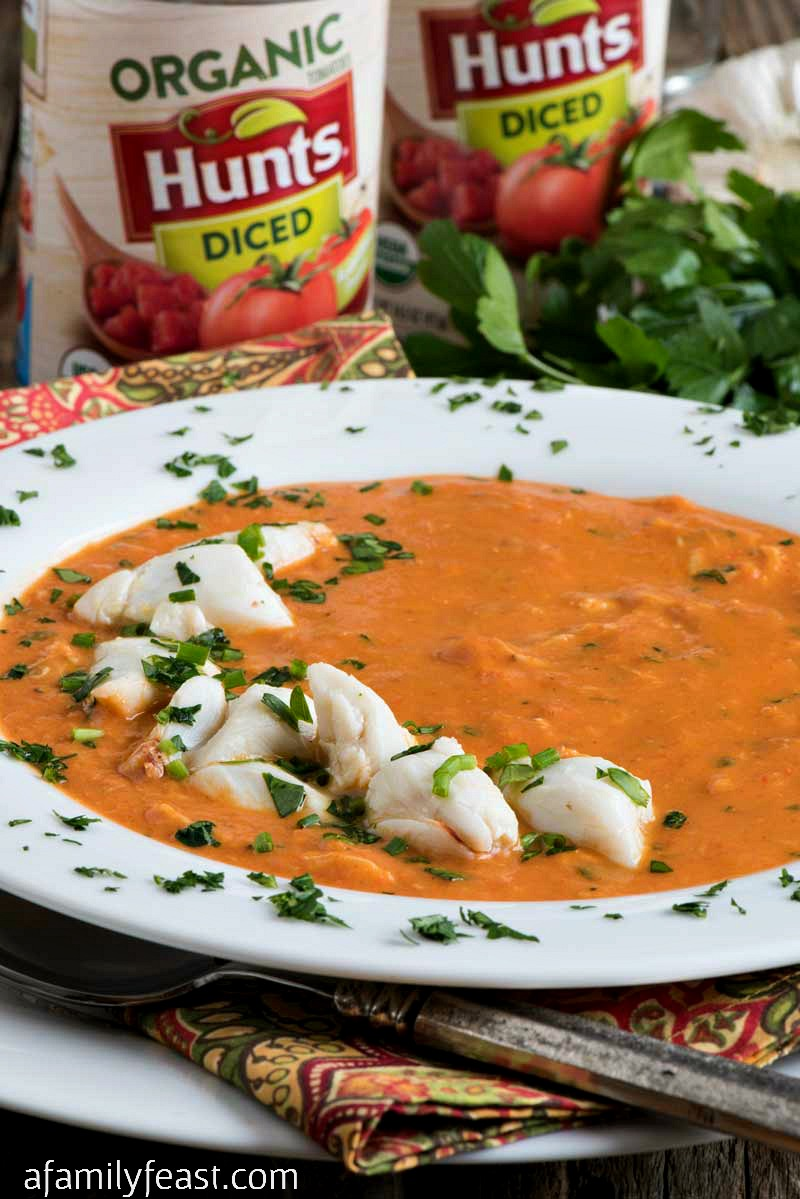 Slow Cooker Tomato Crab Bisque - A creamy tomato broth loaded with chunks of lump crab meat!
