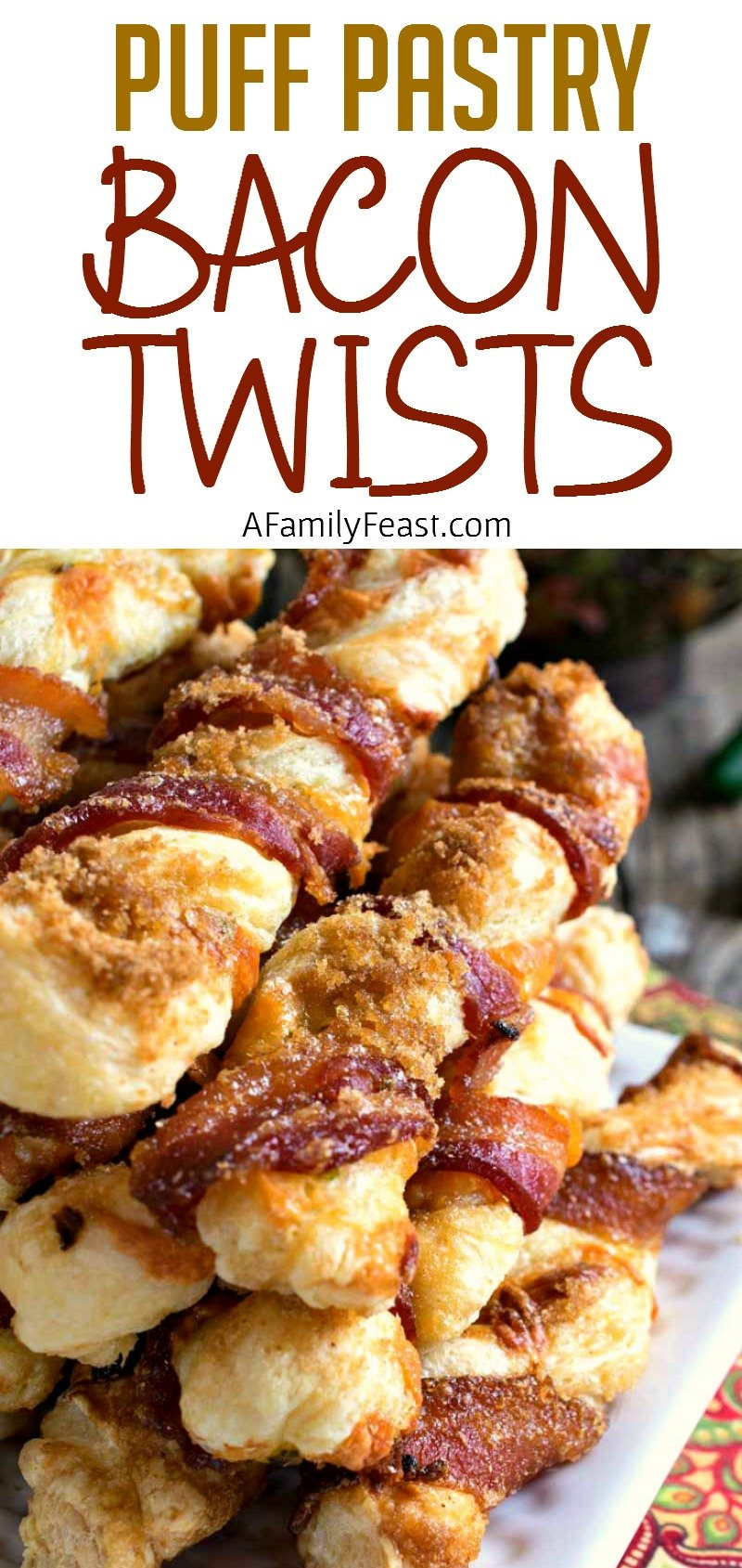 Puff Pastry Bacon Twists - Salty, sweet, cheesy and crispy - plus bacon! This snack is addictively delicious!