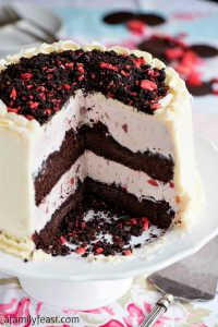 Chocolate Crunch Strawberry Ice Cream Cake - A Family Feast