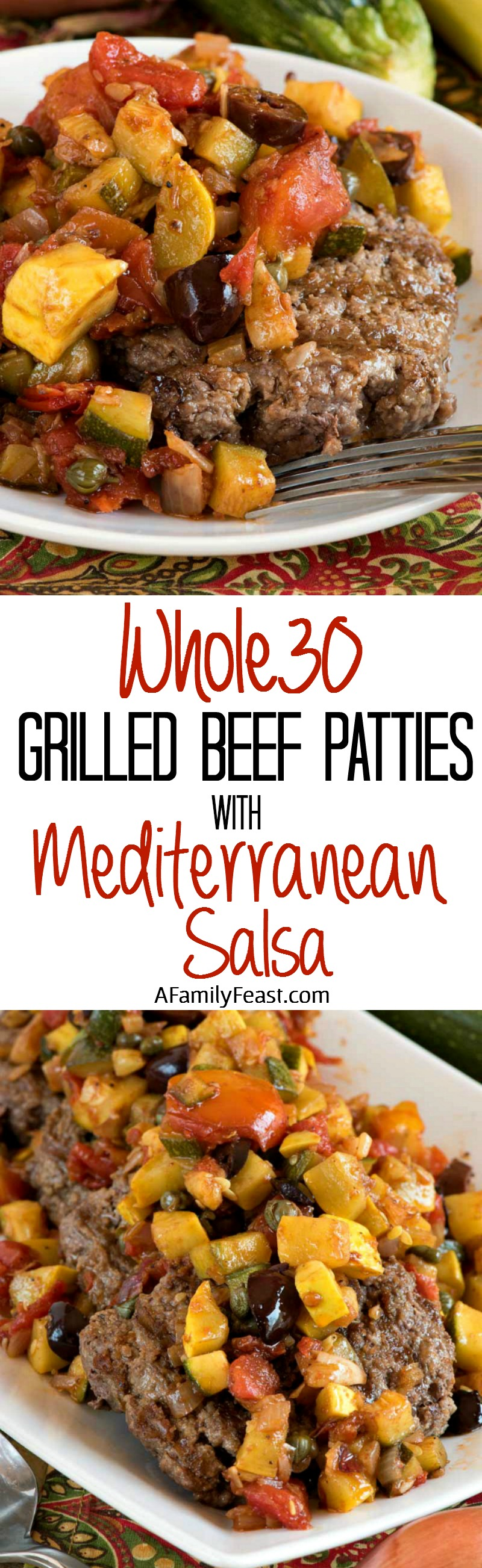Grilled Beef Patties with Mediterranean Salsa (Whole30) - Burgers topped with a zesty, flavorful vegetable salsa. You'll love this even if you aren't on the Whole30.