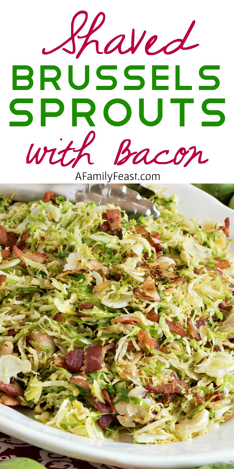 Shaved Brussels Sprouts with Bacon - A simple and delicious side dish that cooks up in just minutes!