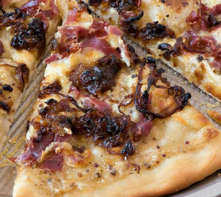 White Barbecue Pizza with Prosciutto and Caramelized Onions