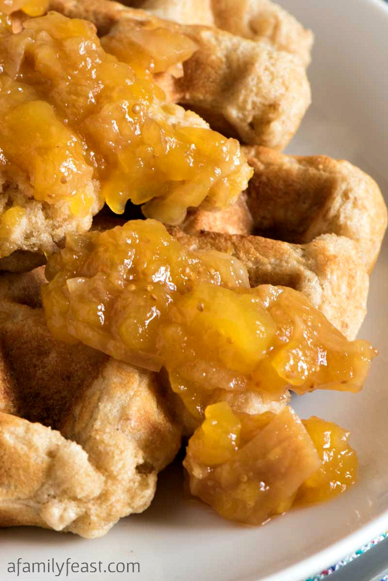 Oat Buttermilk Waffles with Mango-Fig Spread - Fantastic flavors in one hearty and delicious breakfast!