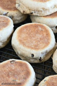 Cinnamon Raisin English Muffins - A Family Feast
