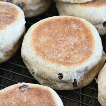 Cinnamon Raisin English Muffins - A Family Feast