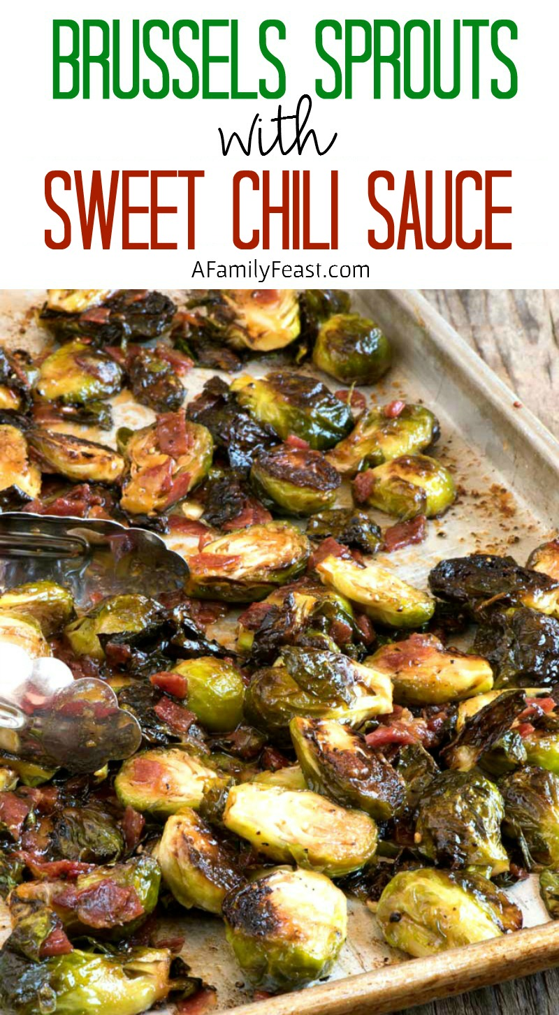 Brussels Sprouts with Sweet Chili Sauce and Capicola - A fantastic salty, smoky, sweet and spicy appetizer!