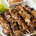Grilled Chicken Skewers with Thai Chili Peanut Sauce