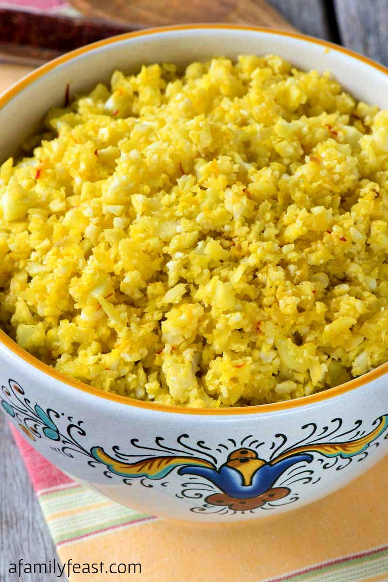 Saffron Cauliflower Rice - A Family Feast