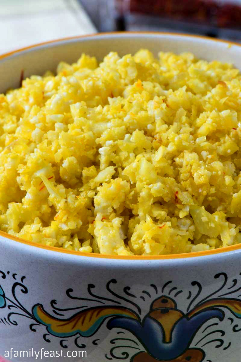 Saffron Cauliflower Rice is a low carb, grain free side dish that is easy to prepare and delicious!