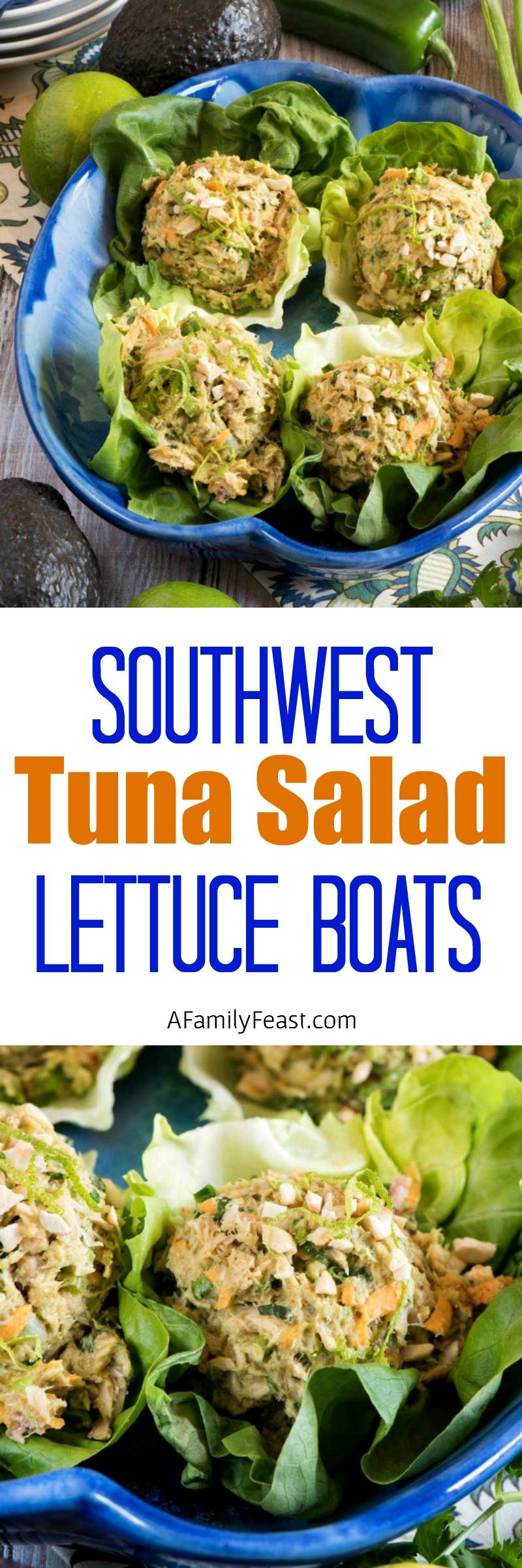Southwest Tuna Salad Lettuce Boats - Skip the mayonnaise and make this super delicious tuna salad!