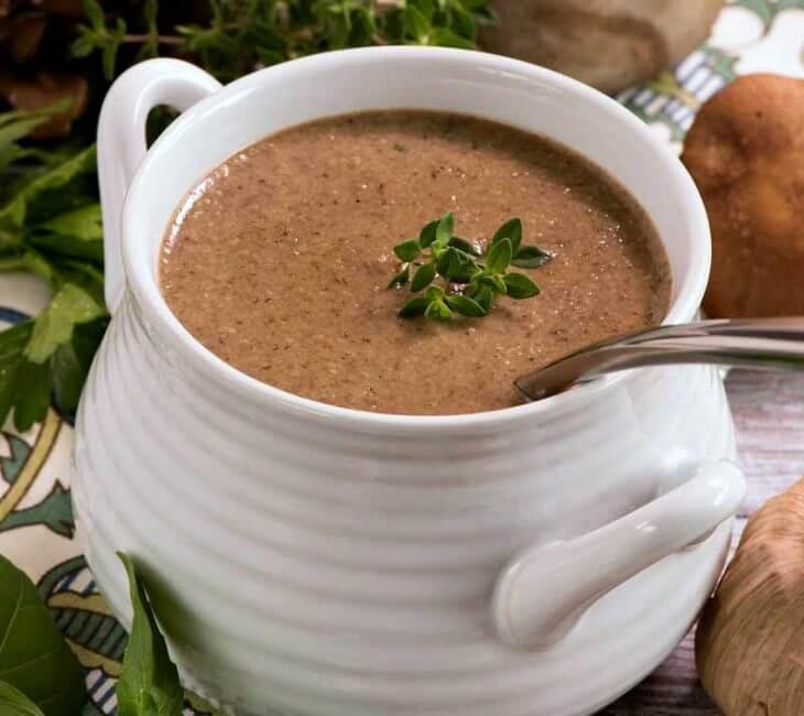 Wild Mushroom and Black Garlic Soup
