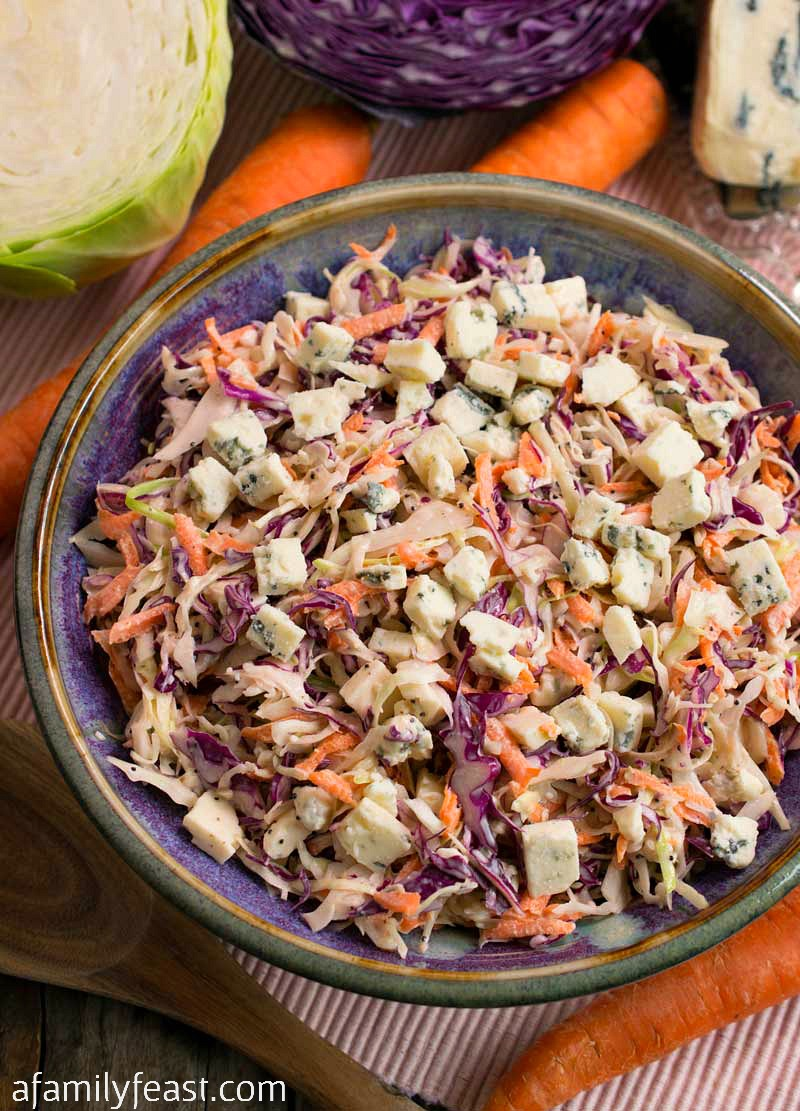 Blue Cheese Coleslaw - A fantastic, easy coleslaw recipe made even better with chunks of blue cheese throughout!