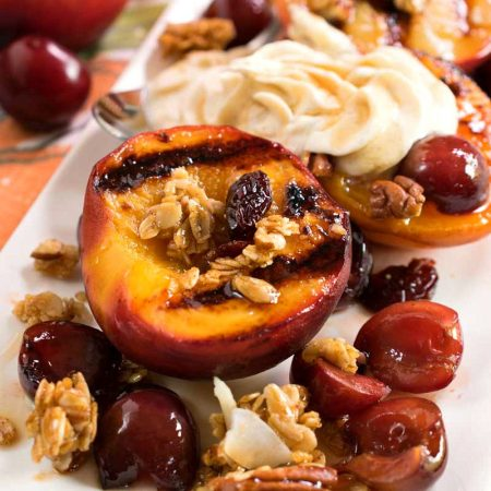 Grilled Stone Fruit with Mascarpone and Cherry Granola - A Family Feast