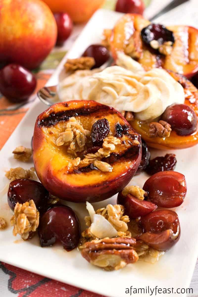 Grilled Stone Fruit with Mascarpone and Cherry Granola - The perfect summer dessert!