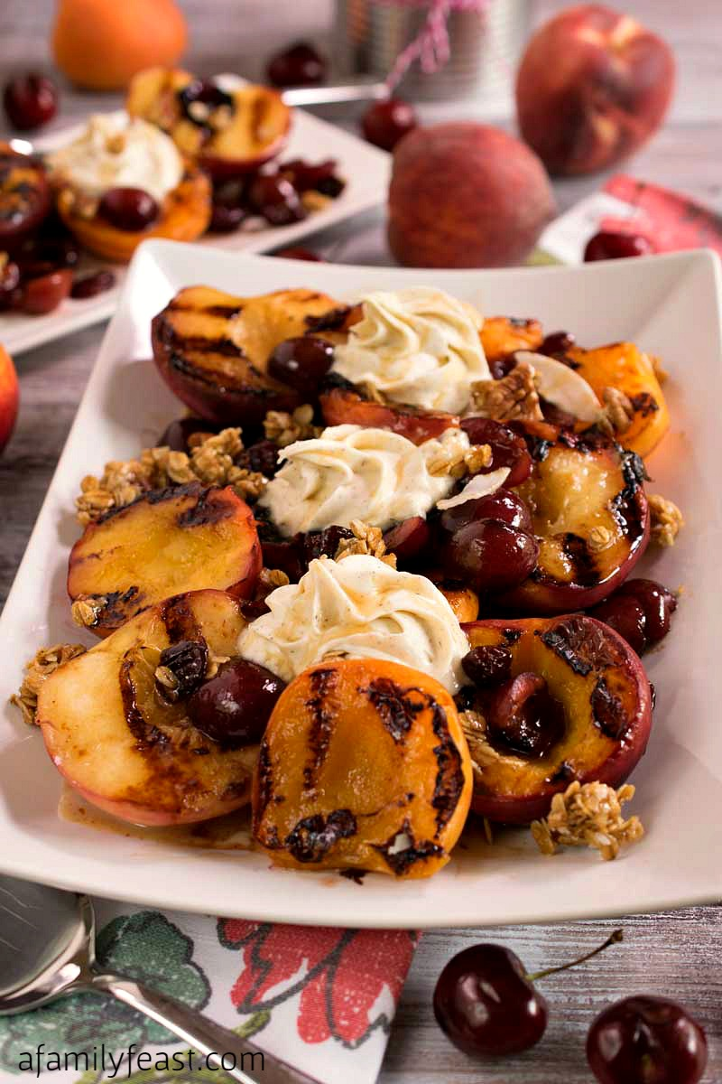 Grilled Stone Fruit with Mascarpone and Cherry Granola
