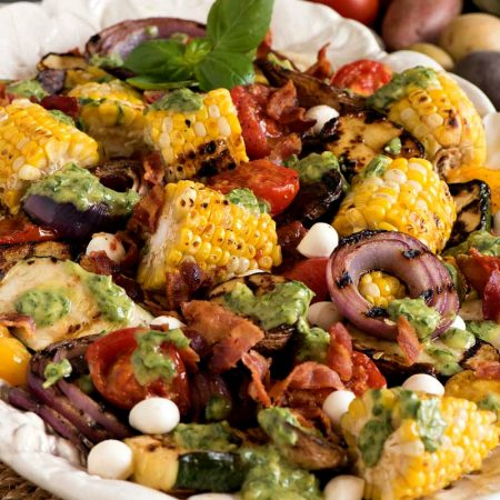 Grilled Vegetable Salad with Basil Dressing - A Family Feast