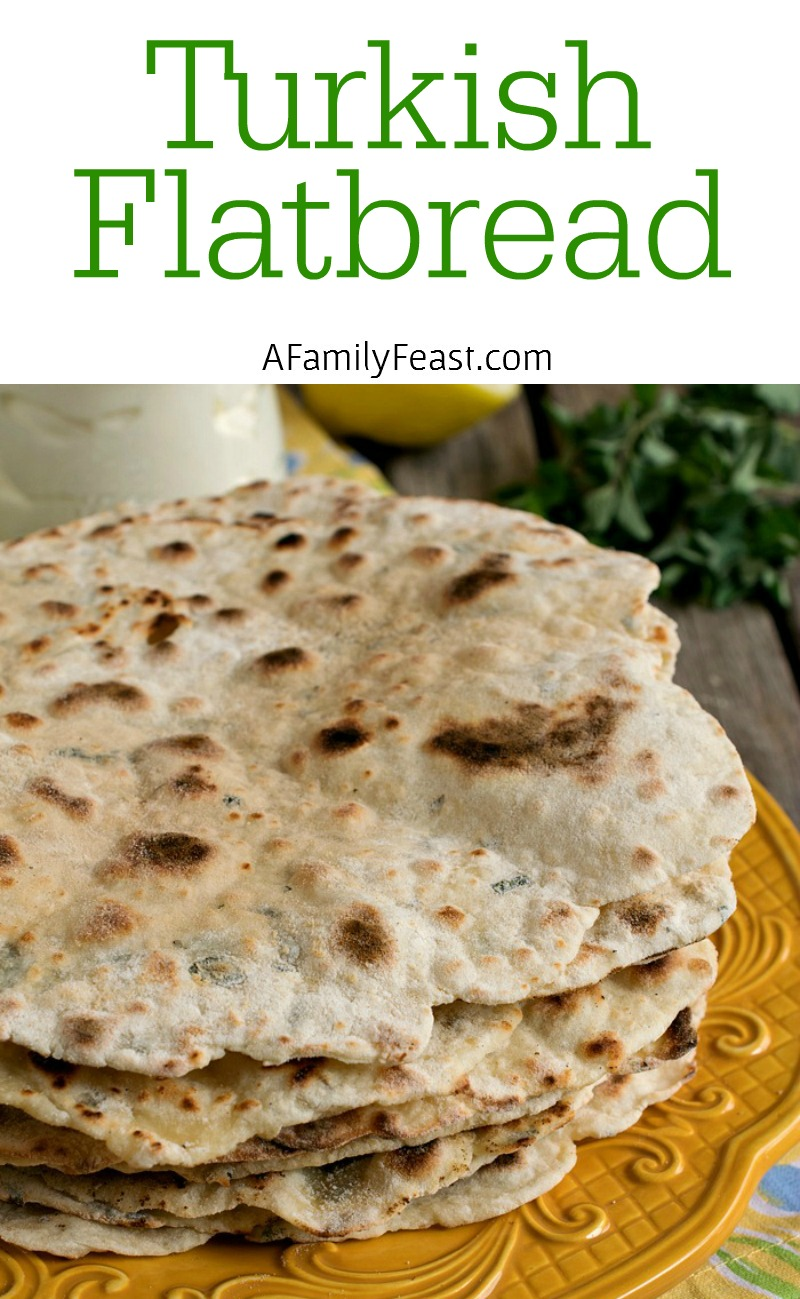 Turkish Flatbread - This delicious flatbread is super easy to make. Just two ingredients (more if you'd like to add some flavors).