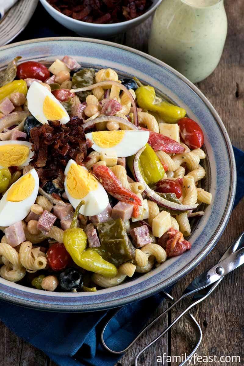 Italian pasta salad with meat
