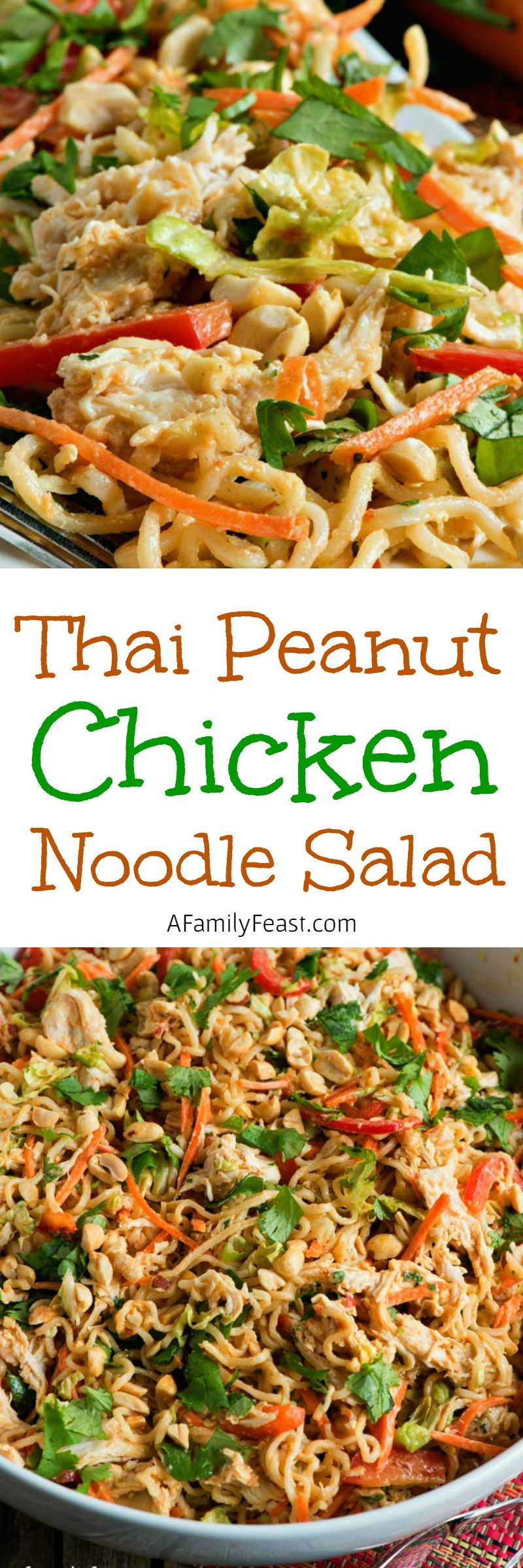 Thai Peanut Chicken Noodle Salad - A delicious, make ahead salad that is a filling meal in itself.