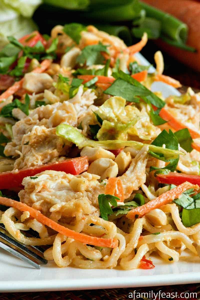 Thai Peanut Chicken Noodle Salad - A Family Feast