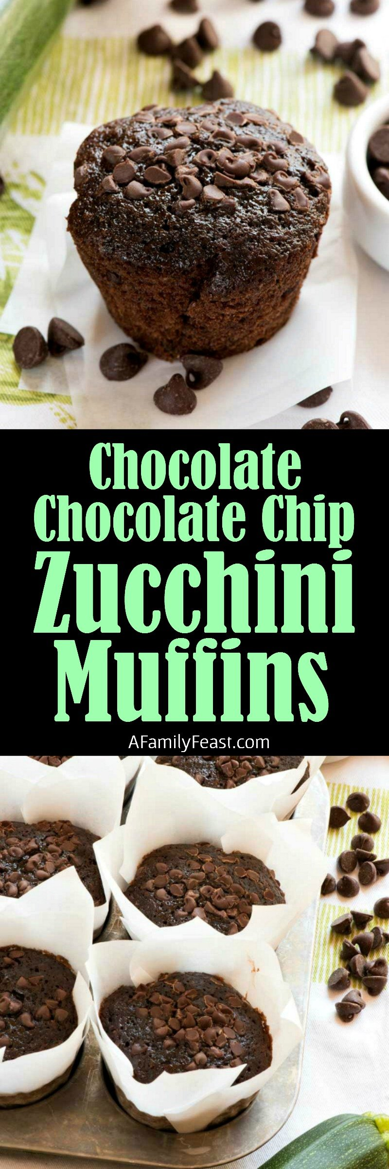 These moist and chocolatey Chocolate Chocolate Chip Zucchini Muffins are a delicious way to bake with fresh garden zucchini!