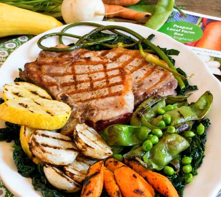 Grilled Pork Chops with Grilled Vegetable Medley