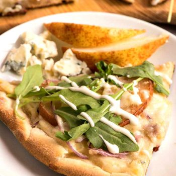 Pear and Gorgonzola Pizza with Arugula and Ranch Dressing - A Family Feast