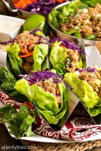 Pork Larb Lettuce Wraps - A Family Feast