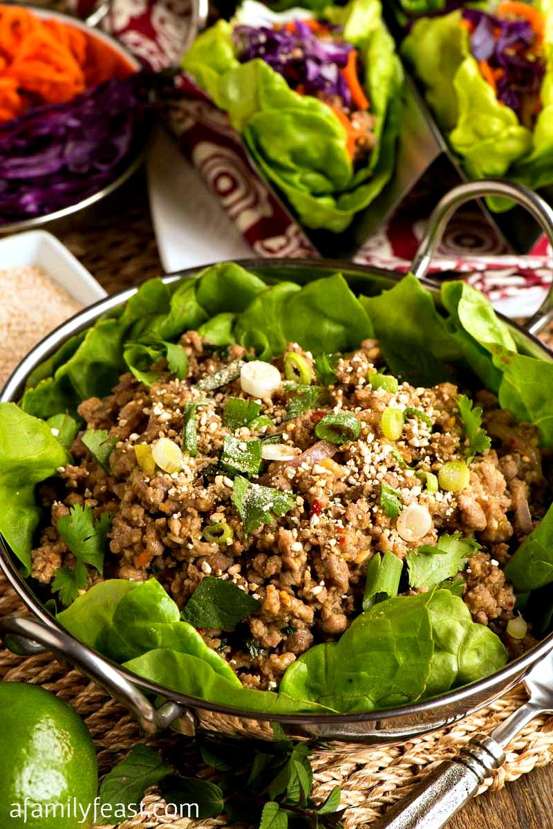 Pork Larb Lettuce Cups - A Family Feast