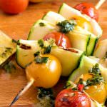 Zucchini Tomato Skewers with Fresh Herb Dressing
