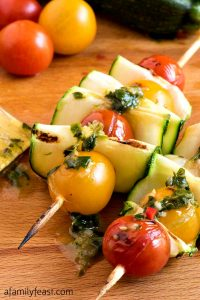 Zucchini Tomato Skewers with Fresh Herb Dressing - A Family Feast