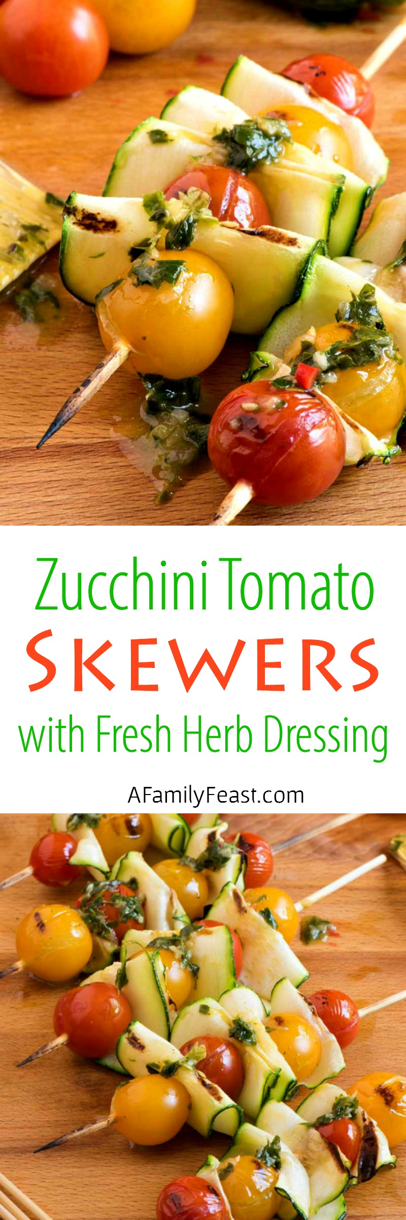 Add these easy and delicious Zucchini Tomato Skewers with Fresh Herb Dressing to any summertime grilling menu!
