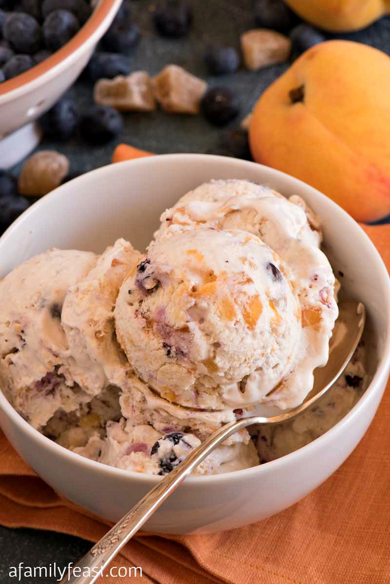 This Ginger Peach Blueberry Ice Cream is summertime in a bowl! Can be made no-churn or as a traditional churned ice cream.