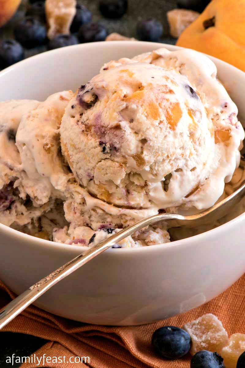 Easy peach ice cream with blueberries and ginger