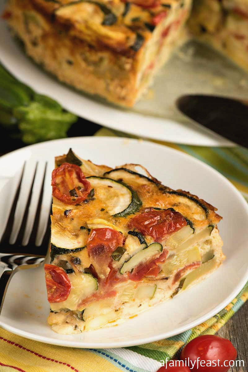Summer Vegetable Torte - Loaded with summer zucchini, squash, tomatoes and herbs.