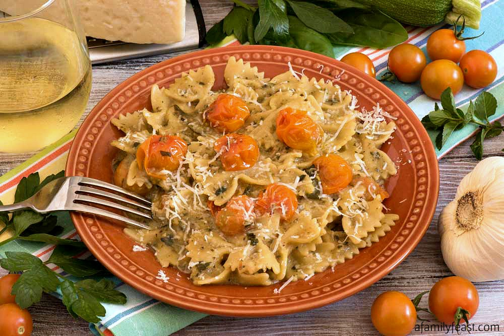 Farfalle with Zucchini and Sun Gold Tomato Sauce - A Family Feast
