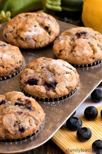 Lemon Blueberry Zucchini Muffins - A Family Feast
